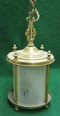 Antique Brass Decorative Light Fixture Chic Frosted Shade Etched vtg  1139