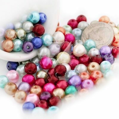 200 Pcs 6mm Assorted Glass Plexiglass Pearl Round Beads GP0242