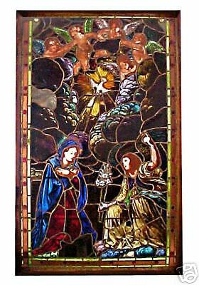Stained Glass Window Depicting The Annunciation, Antique, c. 1900 #4946