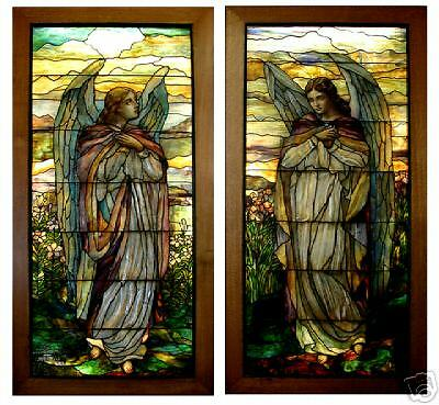 Stained Glass Pair of Tiffany Angel Windows, 8'H #5603