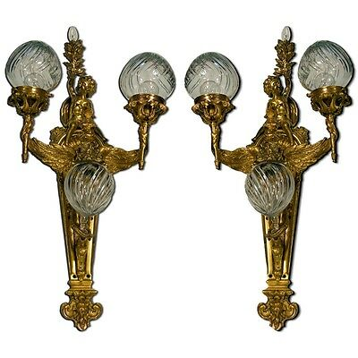 Pair of Antique 19th C. Bronze Figural Cherub Sconces from France #6996