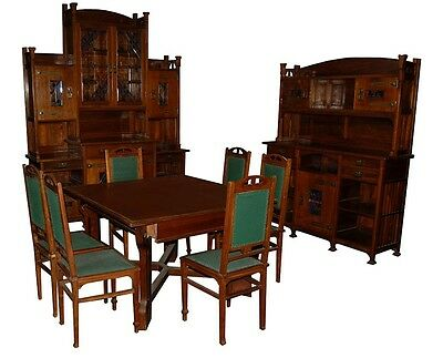English Arts & Crafts Very Unusual 11-Piece Dining Room Suite #5184