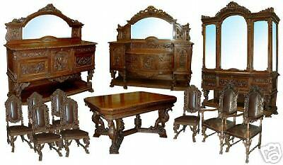 Antique Heavily Carved Figural 12-piece Dining Suite in Walnut #6485