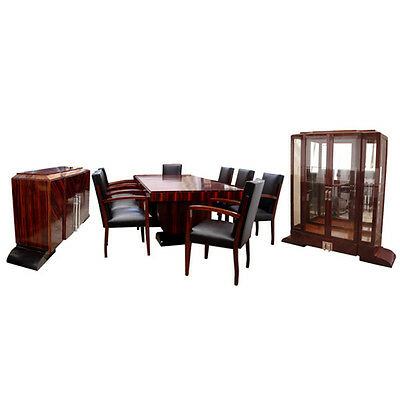 Art Deco Dining Set by Dominique, Ebony d'Massacar #6055