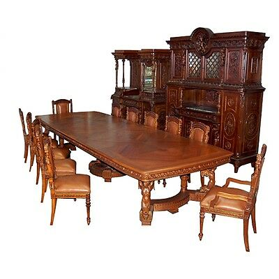19th C. Italian Carved Figural 15-Piece Dining Suite in Mannerist Style #6484