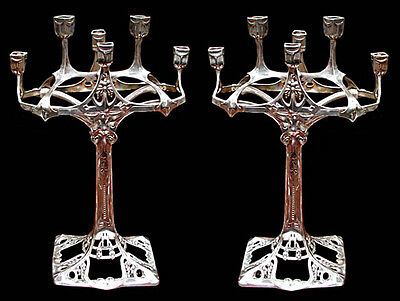 Spectacular Pair of Antique Silver Art Nouveau Candelabras by WMF #5990