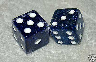 Blue Glitter Transparent Dice Pair