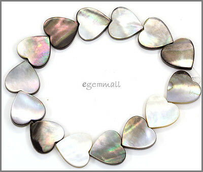 14 Gray Mother of Pearl Shell Heart Beads 15.6mm #75062