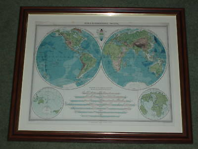 Over 100 year old Map of World Hemispheres Physical