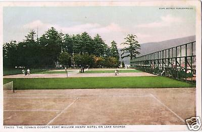 Postcard New York Lake George Fort William Henry Hotel Tennis Courts 1907-15