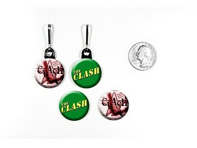 The Clash English Punk Rock Band zipper pulls w/matching buttons