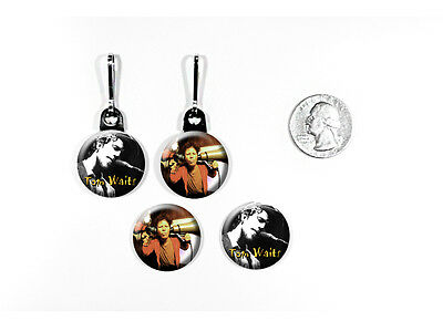 Tom Waits American singer-songwriter composer zipper pulls w/matching buttons