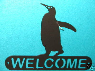 Penguin Welcome Sign  Home Wall Decor House Metal Ocean