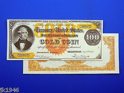 Reproduction $100 1882 Gold Cert. Large Red Seal US Paper Money Currency Copy
