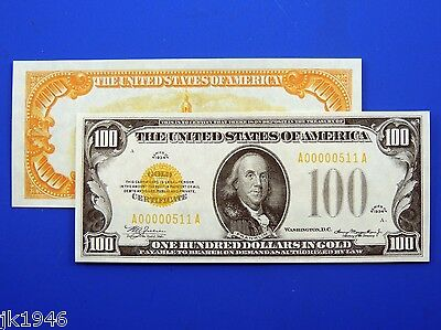 Reproduction $100 1934 Gold US Paper Money Currency Copy
