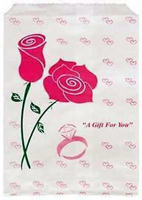 100 Jewelry Paper Gift shopping Bag 5x7 #2 Pink Rose