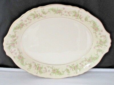 Dearborn by Syracuse Pink Flowers Oval Serving Platter