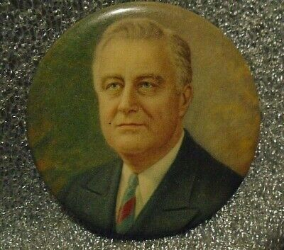 1932 Franklin Roosevelt Celluloid Shield Photo Pin 6179
