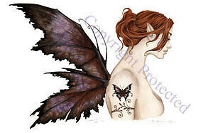 Amy Brown BUTTERFLY TATTOO Faery Fairy Print 11x17 nude