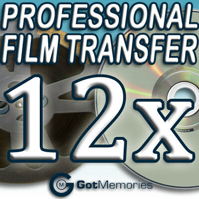 12X 5INCH 200FT 8MM 16MM SUPER 8 MOVIE FILM TO DVD $336