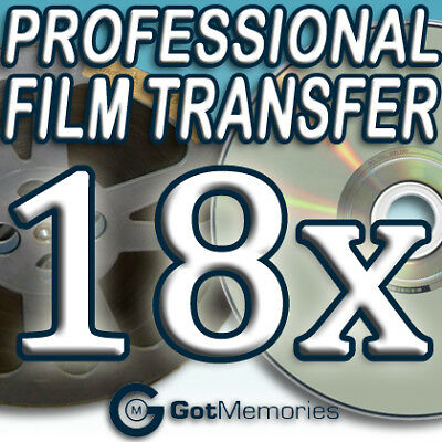 18X 5INCH 200FT 8MM 16MM SUPER 8 MOVIE FILM TO DVD $504