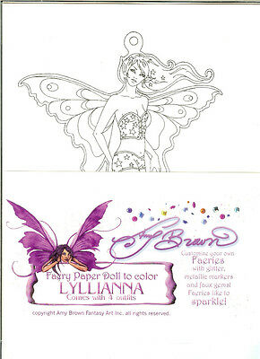 Amy Brown Lyllianna Fairy Paper Doll Kit Coloring Set Faery