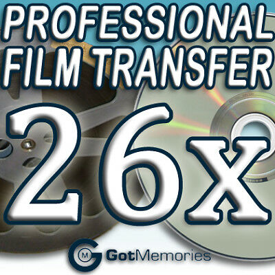 26X 5INCH 200FT 8MM 16MM SUPER 8 MOVIE FILM TO DVD $728