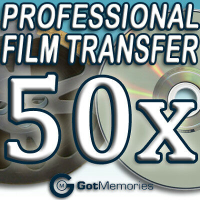 50X 5INCH 200FT 8MM 16MM SUPER8 MOVIE FILM TO DVD $1400