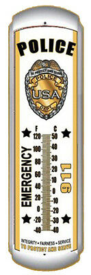 "Police Emergency 911 17"" Metal Thermometer Nice!!"