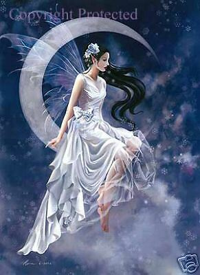 Nene Thomas FROST MOON Limited Edition Signed Print Fairy LE Faery White Blue
