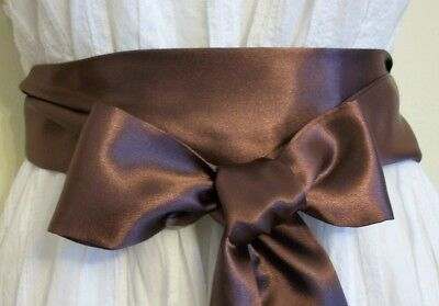 """New 2.5X85"""" Brown Satin Sash Belt Self Tie Bow For Party Occassion Dress Bridal"""