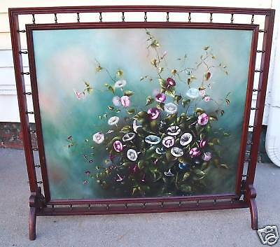 antique stillife floral paiting firescreen after Heade