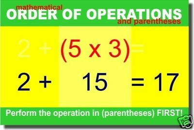 Mathematical Order of Operations & Parentheses - POSTER