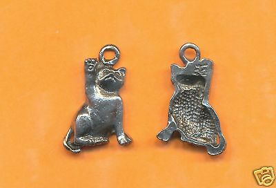 100 wholesale lead free pewter cat charms 1111