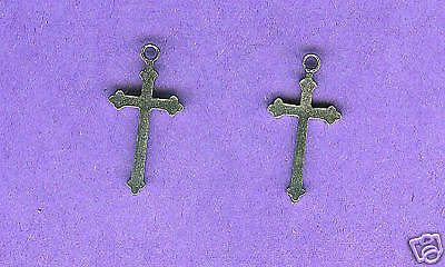 100 wholesale lead free pewter cross charms 1205