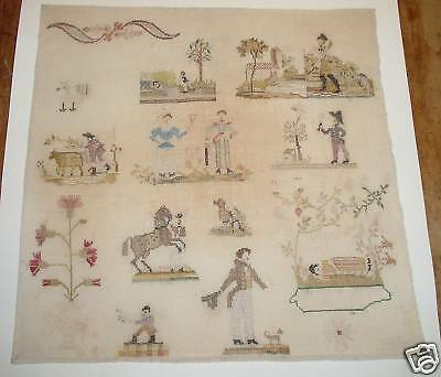 superb antique memorial silk sampler PA dutch motif