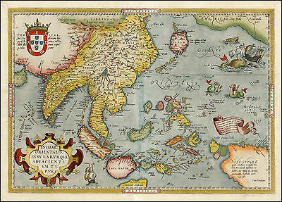 Ortelius Japan Asia India Malaysia Indonesia Reproduction Antique Old Color Map