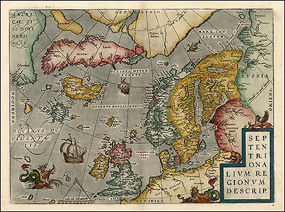 Scandanavia Northern Europe Sweden Norway Finland Reproduction Antique Color Map