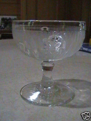"Jeannette Glass Iris & Herringbone 4""Footed Sherbet VGC"