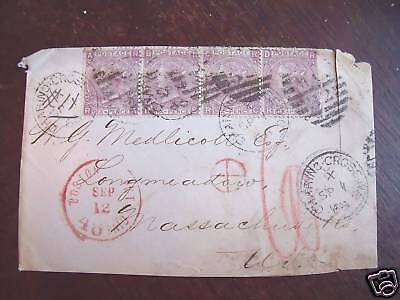 UK stamp #45 strip of 4 on used cover to US