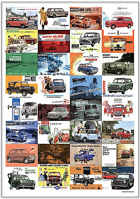 CLASSIC MINI  Retro Art Print - Austin Morris Cooper Riley Elf Moke Countryman +