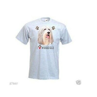 I Love My Bearded Collie Design Printed Ash T-Shirt