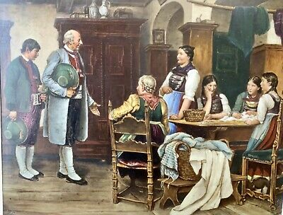 19th C German Proposal Hand Painting On Porcelain Plaque Framed  MAGNIFICENT