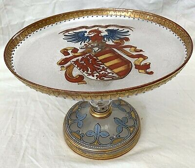 19th C German Hand Painted Enamel Glass Dish   RARE  MAGNIFICENT