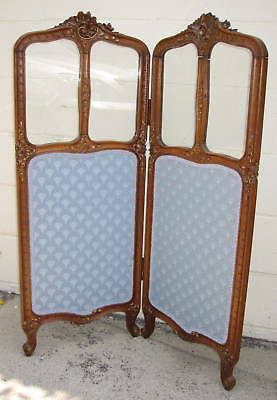 19th Century French Walnut 2 Panel Screen w/ Glass  MAGNIFICENT