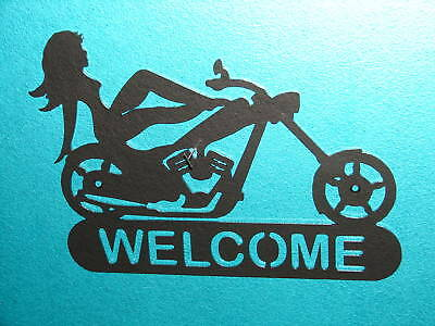 Chopper Chick Welcome Plaque Sign Home Decor Motorcycle Metal wall art