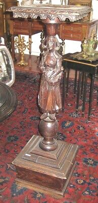 Circa 1800 Dutch Figurin Oak Pedestal Fine Stand MAGNIFICENT