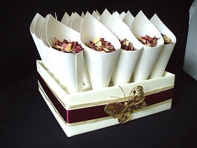 25 biodegradable butterfly. ivory, pink petal confetti cones tray ribbon choice