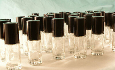 6 Empty Glass bottles 5ml Roll-on tops pagan wiccan ritual perfume fragrance oil