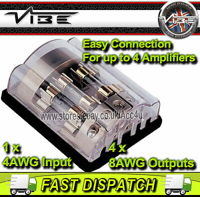 Vibe FD4 Car 4 Way Amplifier Amp Power AGU Fused Fuse Distribution Block Holder